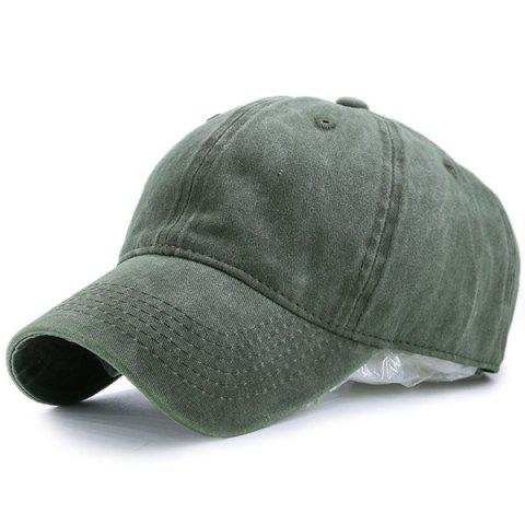 Nostalgic Baseball Lines Embroidery Cap - Army Green - M