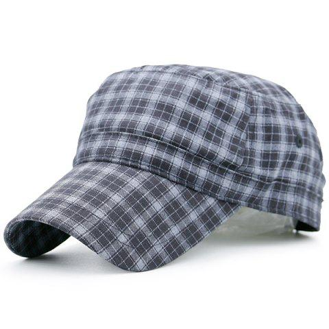 Discount Flat Top Tiny Plaid Military Hat BLUE