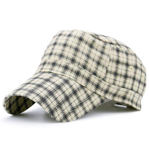 Fancy Flat Top Tiny Plaid Military Hat YELLOW