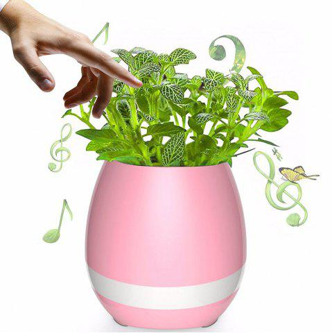 Online USB Charging Colorful Night Light Bluetooth Speaker Music Flower Pot - PINK  Mobile