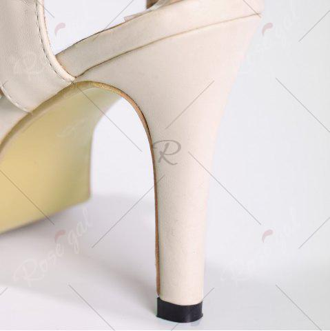 Fashion Bowknot High Heel Sandals - 39 APRICOT Mobile