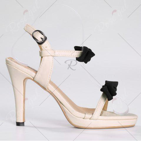 Discount Bowknot High Heel Sandals - 39 APRICOT Mobile