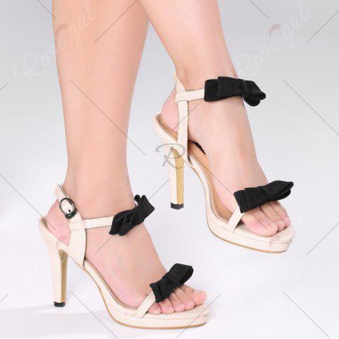 Cheap Bowknot High Heel Sandals - 39 APRICOT Mobile
