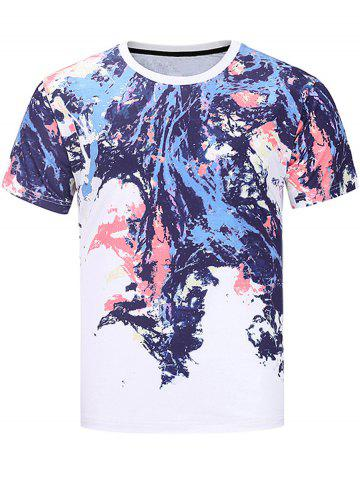 Chic Short Sleeve Colorful Splatter Paint Print T-shirt