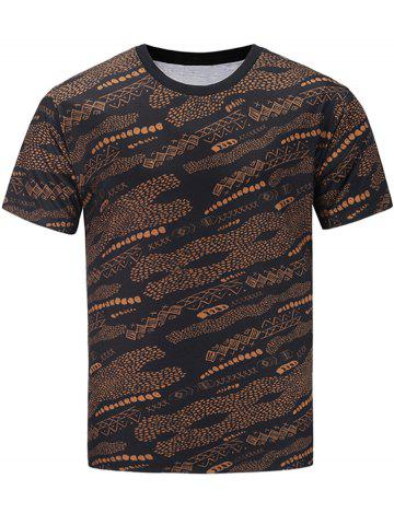 Cheap Short Sleeve Geometric Print Hand Painted T-shirt COLORMIX 3XL