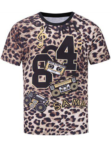 Cheap Short Sleeve Music Graphic Leopard Print T-shirt