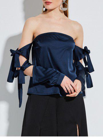 Lace Up Sleeve Strapless Satin Blouse - Deep Blue - Xl