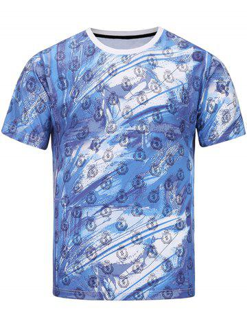 Fashion Short Sleeve 3D Warrior and Badges Print T-shirt COLORMIX 2XL