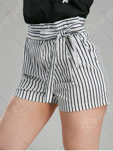 Unique Belted High Waisted Mini Striped Shorts - M STRIPE Mobile