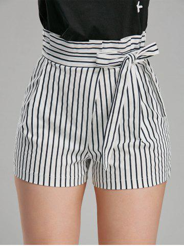Online Belted High Waisted Mini Striped Shorts - L STRIPE Mobile