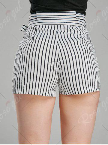Fancy Belted High Waisted Mini Striped Shorts - L STRIPE Mobile