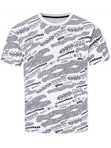 Discount Short Sleeve Hand Painted Geometric Print T-shirt COLORMIX 2XL