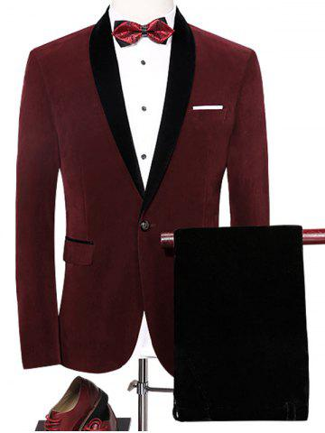 Latest Shawl Collar Velveteen Blazer Suit - 4XL WINE RED Mobile