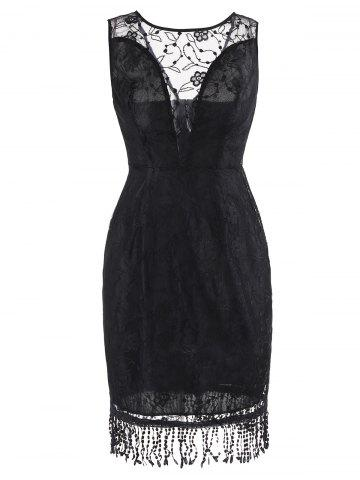 Fringe Trim Sleeveless Lace Sheath Dress - Black - 2xl