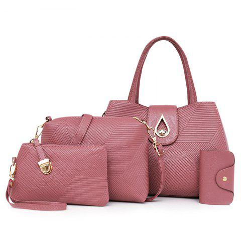 Sale 4 Pcs Line Embossed Handbag Set PINK