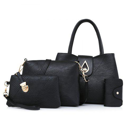Outfit 4 Pcs Line Embossed Handbag Set BLACK