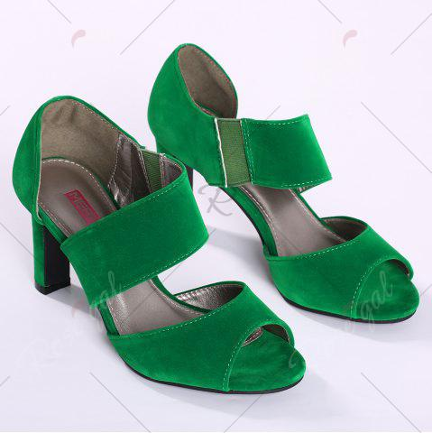 Outfit Chunky Heel Peep Toe Sandals - 37 GREEN Mobile
