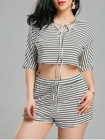 Outfit Striped Shorts+ Lacing V Neck Crop Top - XL WHITE AND BLACK Mobile