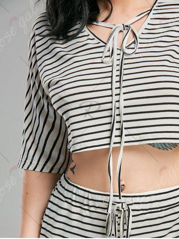 Hot Striped Shorts+ Lacing V Neck Crop Top - XL WHITE AND BLACK Mobile