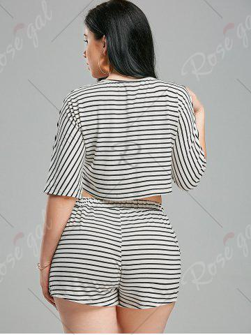 Affordable Striped Shorts+ Lacing V Neck Crop Top - XL WHITE AND BLACK Mobile