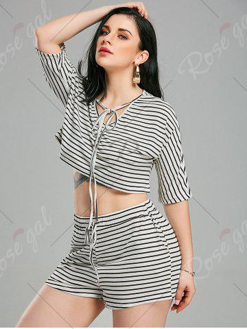 Online Striped Shorts+ Lacing V Neck Crop Top - XL WHITE AND BLACK Mobile
