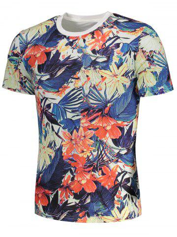 Online Short Sleeve Flowers Painting Print T-shirt