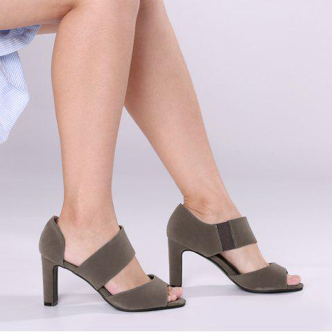 Chunky Heel Peep Toe Sandals - Gray - 38