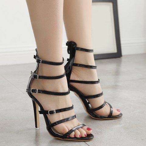 Stiletto Heel Buckle Straps Zipper Sandals Noir 37