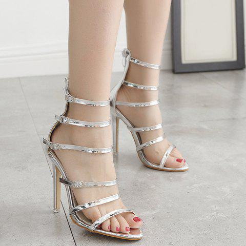 Stiletto Heel Buckle Straps Zipper Sandals
