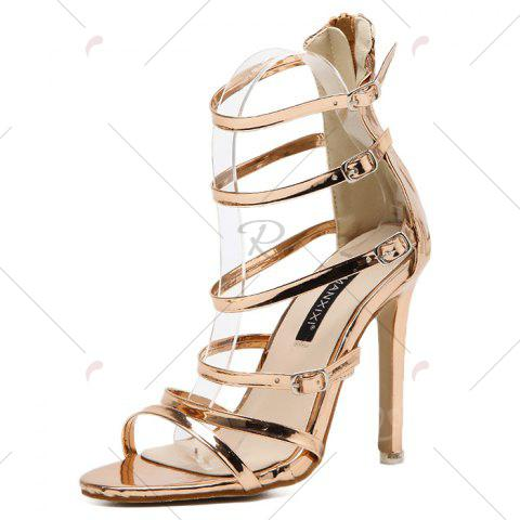 Outfit Stiletto Heel Buckle Straps Zipper Sandals - 39 CHAMPAGNE Mobile