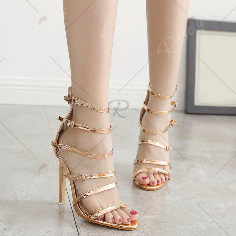Affordable Stiletto Heel Buckle Straps Zipper Sandals - 39 CHAMPAGNE Mobile