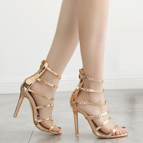Discount Stiletto Heel Buckle Straps Zipper Sandals - 39 CHAMPAGNE Mobile