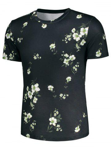 Best Short Sleeve 3D Flowers and Leaves Print T-shirt