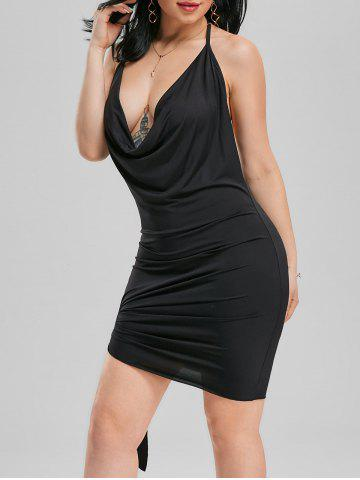 Halter Backless Club Mini Dress - Black - Xl