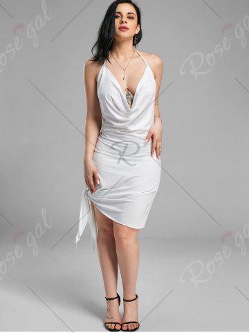 Outfits Halter Backless Club Mini Dress - S WHITE Mobile