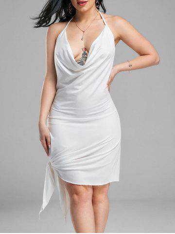 Fancy Halter Backless Club Mini Dress - M WHITE Mobile