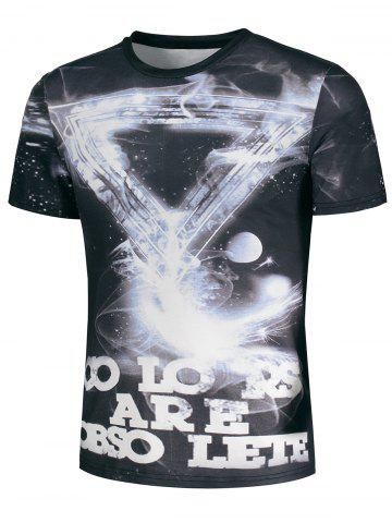 Trendy Geometric Galaxy and Graphic Print T-Shirt