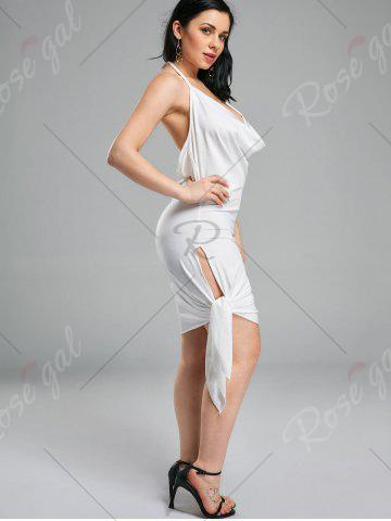 Outfits Halter Backless Club Mini Dress - L WHITE Mobile