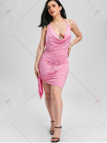 Online Halter Backless Club Mini Dress - XL PINK Mobile