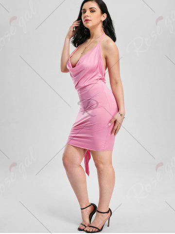 Latest Halter Backless Club Mini Dress - XL PINK Mobile