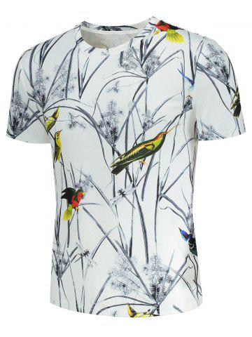Fancy Short Sleeve Colorful Birds and Leaves Print T-shirt