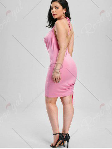 Latest Halter Backless Club Mini Dress - M PINK Mobile
