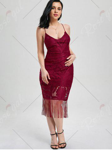 Online Lace Up Fringe Backless Bodycon Dress - M DEEP RED Mobile