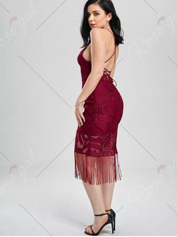 Affordable Lace Up Fringe Backless Bodycon Dress - M DEEP RED Mobile