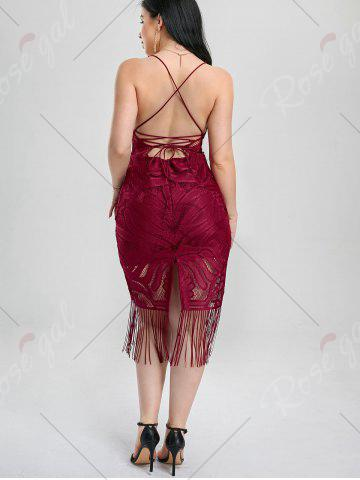 New Lace Up Fringe Backless Bodycon Dress - M DEEP RED Mobile