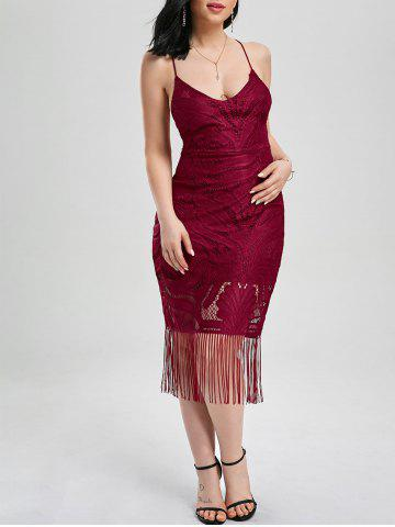 Outfit Lace Up Fringe Backless Bodycon Dress - M DEEP RED Mobile