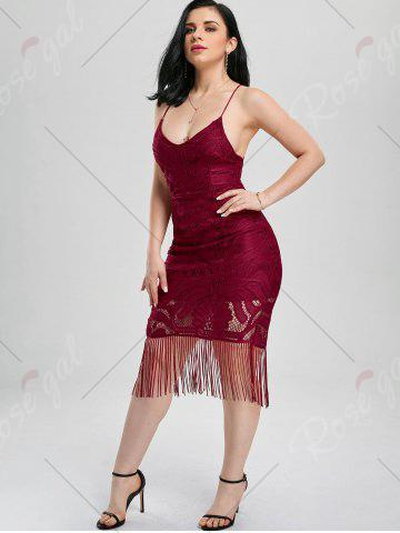 Best Lace Up Fringe Backless Bodycon Dress - L DEEP RED Mobile