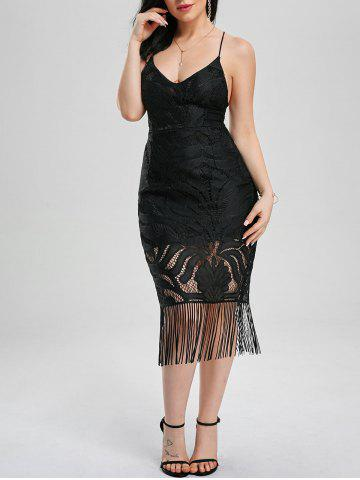 Lace Up Backless Bodycon Flapper Dress Noir XL