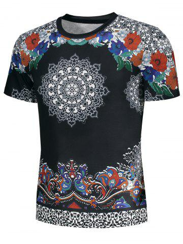 Chic Short Sleeve Ethnic Floral and Paisley Print T-shirt