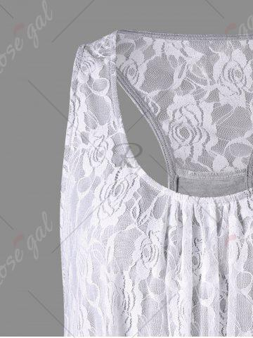 Hot Raceback Floral Lace Panel Tank Top - XL GRAY Mobile